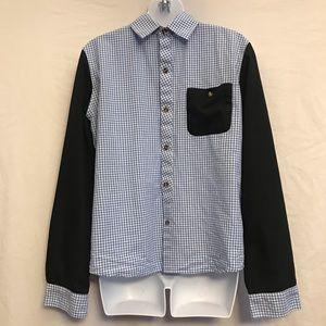 U2M2 Men's GRID DESIGN Color Block LS Shirt- Sm